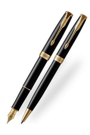 Parker Sonnet Black Gold Trim Ballpoint & Fountain Pen Gift Set