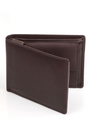 Dents Leather Tri-Fold Coin Pocket Wallet - Chocolate