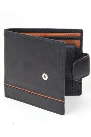 Dents Leather Two-Tone Coin Pocket Wallet with RFID Protection - Black/Saddle