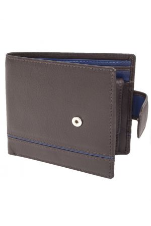 Dents Leather Two-Tone Coin Pocket Wallet with RFID Protection - Chocolate/Blue