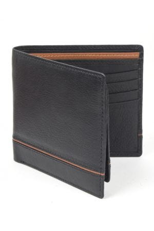 Dents Leather Two-Tone Billfold Wallet with RFID Protection - Black/Saddle