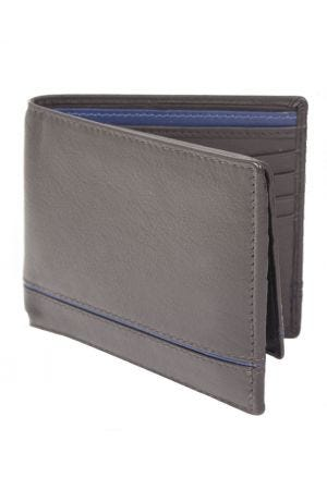 Dents Leather Two-Tone Billfold Wallet with RFID Protection - Chocolate/Blue