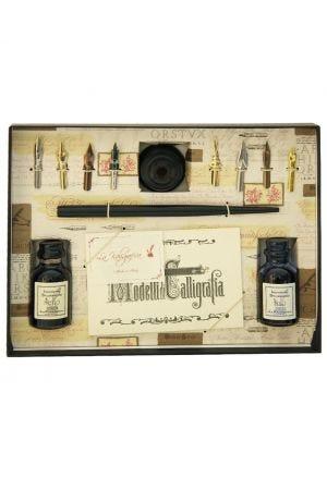Wooden Dip Pen, 8 Nibs, 2 Inks & Holder Set