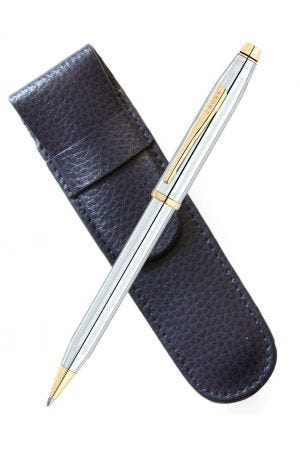 Cross Century II Medalist Ballpoint Pen & Blue Leather Pen Case