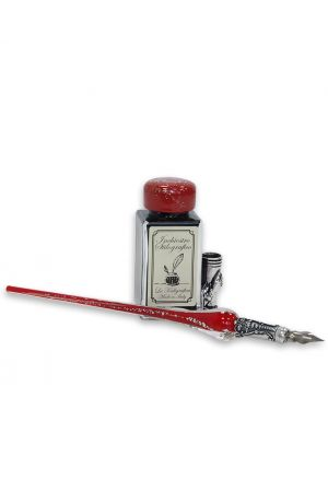 Coles Calligraphy Red & Silver Glass Pen, Stand, 2 Nibs and Ink Set