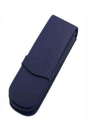Online Leather 2 Pen Case - Classic Blue