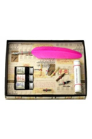 Coles Calligraphy Feather Quill, 3 Inks & 6 Nib Set - Pink