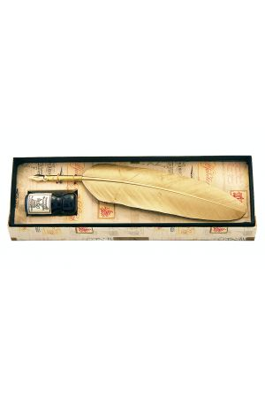 Small Feather Quill & Ink Set - Gold