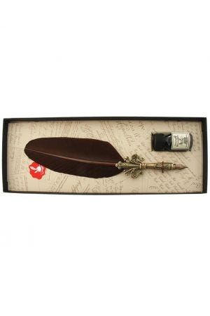 Fleur D'Lys Feather Quill and Ink Set - Brown