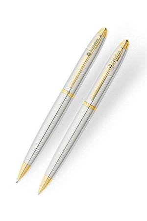 Franklin Covey Lexington Chrome & Gold Trim Ballpoint Pen & Pencil Set