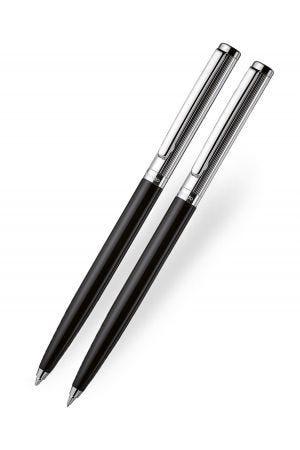 Otto Hutt Design 01 Ballpoint and Pencil Set - Black/Silver