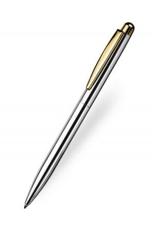 Otto Hutt Design 02 Ballpoint - Smooth Silver Gold Trim