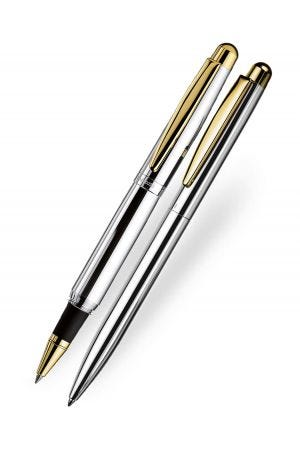 Otto Hutt Design 02 Rollerball and Ballpoint Set - Smooth Silver Gold Trim