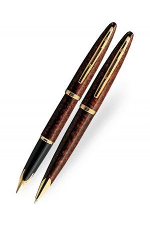 Waterman Carene Amber Gold Trim Fountain & Ballpoint Pen Set