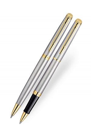 Waterman Hemisphere Stainless Steel Gold Trim Rollerball & Ballpoint Pen Set