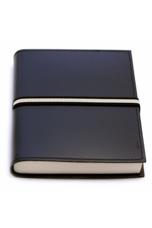 Abruzzi Medium Recycled Leather Journal with Black & Stone Tie - Black