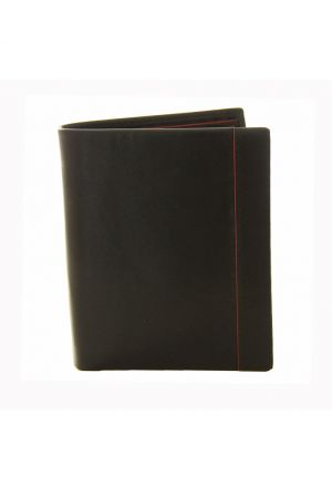 Dents Vertical Leather Wallet Black/Red