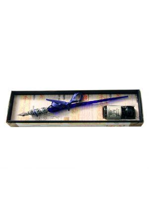 Venetian Pewter Glass Pen & Ink Set - Blue