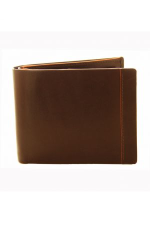 Dents Leather Coin Pocket Wallet Chocolate/Orange