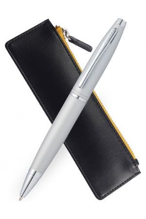Cross Calais Satin Chrome Ballpoint Pen & TrackR Pouch Set