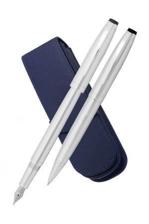 Coles Byron Chrome Ballpoint, Fountain & Leather Pen Case Set
