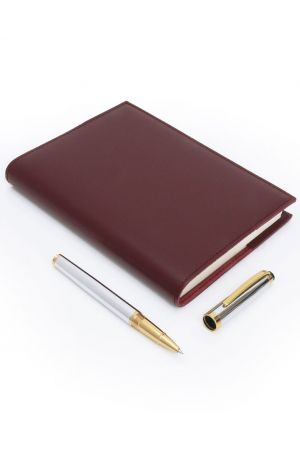 Coles Milton Chrome Gold Trim Rollerball Pen & Sorrento Medium Refillable Leather Journal
