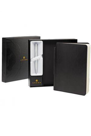 Cross Stratford Pure Chrome Ballpoint Pen & Medium Journal Gift Set