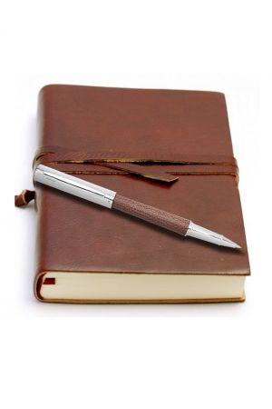 Ohto Giza Leather Rollerball Pen & Da Vinci Large Leather Journal