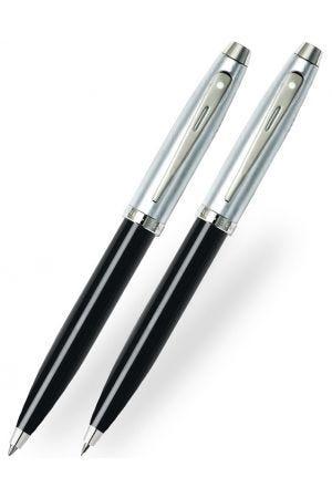 Sheaffer 100 Gloss Black Brushed Chrome Ballpoint & Pencil Set