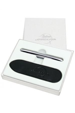 Fisher Space Bullet - Chrome Space Pen with Black Leather Pen Case