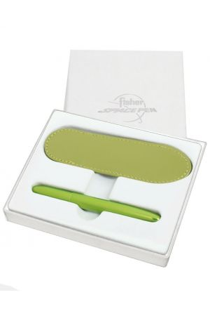 Fisher Space Lime Green Bullet Pen & Green Leather Pen Case Set