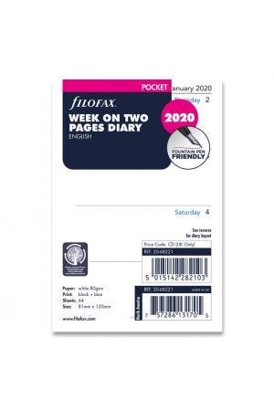 Filofax Pocket Diary Refill - Week on Two Pages 2020
