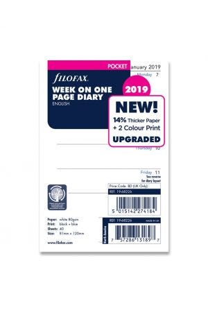 Filofax Pocket Diary Refill - Week on One Page 2019