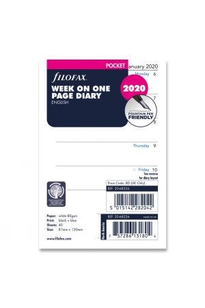 Filofax Pocket Diary Refill - Week on One Page 2020