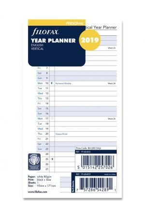 Filofax Personal Diary Refill - Year Planner Vertical 2019
