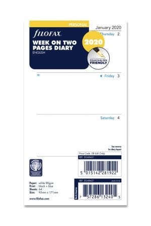 Filofax Personal Diary Refill - Week on Two Pages 2020