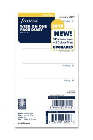 Filofax Personal Diary Refill - Week on One Page 2019