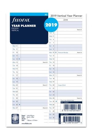 Filofax A5 Diary Refill - Year Planner Vertical 2019
