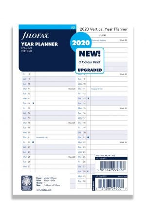 Filofax A5 Diary Refill - Year Planner Vertical 2020