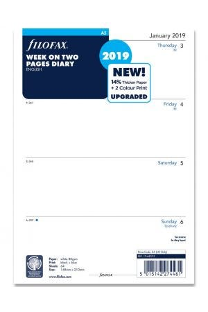 Filofax A5 Diary Refill - Week on Two Pages 2019