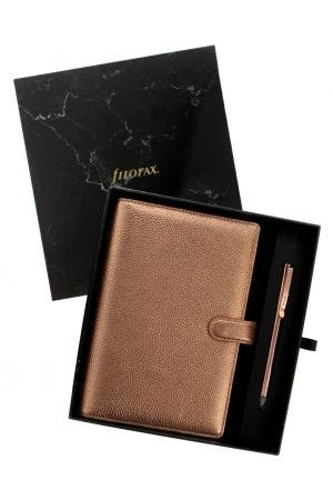Filofax Finsbury Personal Organiser Rose Gold Gift Set