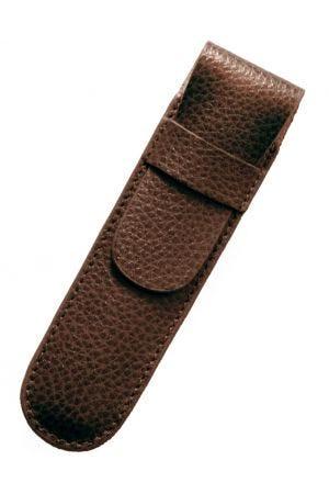 Laurige Leather 1 Pen Case - Chocolate Brown