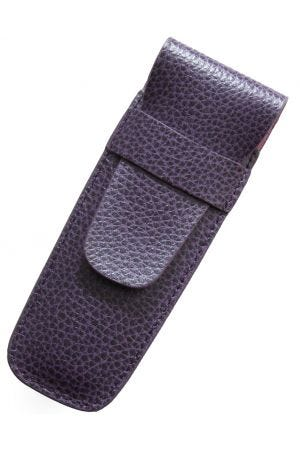 Laurige Leather 2 Pen Case - Aubergine