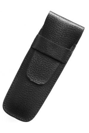 Laurige Leather 2 Pen Case - Black