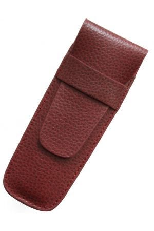 Laurige Leather 2 Pen Case - Burgundy