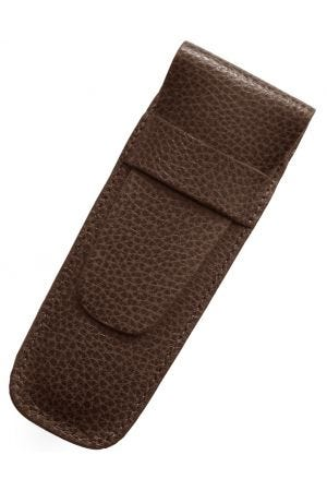 Laurige Leather 2 Pen Case - Chocolate Brown
