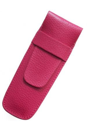 Laurige Leather 2 Pen Case - Fuchsia