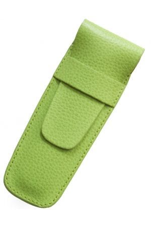 Laurige Leather 2 Pen Case - Lime Green