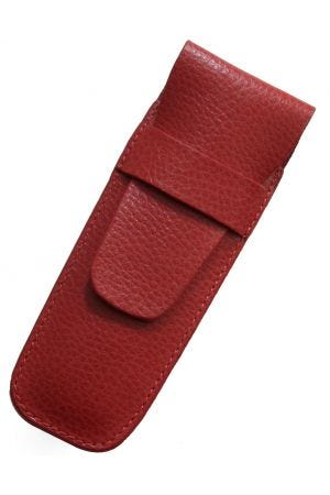 Laurige Leather 2 Pen Case - Red