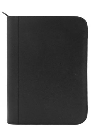 Laurige A4 Leather Pad Portfolio - Black